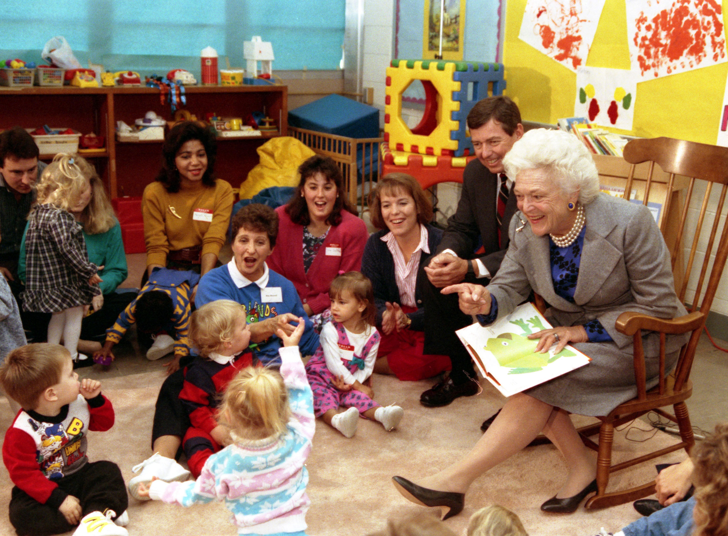 Mrs.Bush reads to students